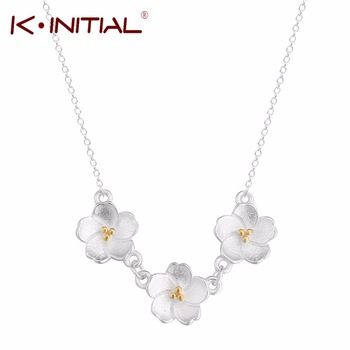 Kinitial 925 Silver Statement Plum Flower Choker Necklace Chain Collar Fashion Flowers Pendants Necklaces Jewelry For Women Gift