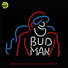 Bud Man Beer Light Neon Sign HandCraft Decoration Real Glass Neon Bulb Glass Tube Beer Signs Lighted Attract Bright 24x31(China)