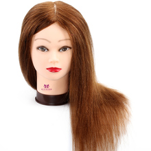 "Professional Hairdressing Training Head 100% Real Hair 20"" Cosmetology Mannequin Head  Manikin Head Hair Styling Salon Model"