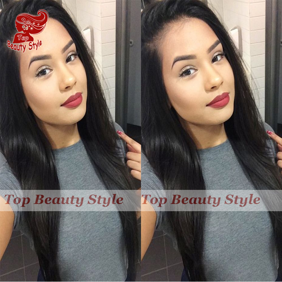 Top Quality Heat Resistant Fiber #1B Natural Looking Straight Synthetic Lace Front Wig For Black Women With Natural Hairline<br><br>Aliexpress