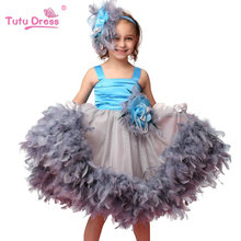 Hot Sale Girls Floral Feather Sleeceless Dress Children Wedding Easter Party Evening Dresses For 2-7 Years Old Kids(China)