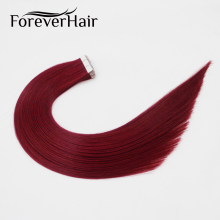 "FOREVER HAIR 2.0g/pc 18"" Remy Tape In Human Hair Extension Dark Red #530 Seamless Glue In Tape Skin Weft Hair Extensions(China)"