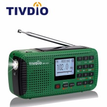 TIVDIO HR-11S Portable Radio Hand Crank Solar Emergency Radio Receiver FM MW SW With Bluetooth MP3 Player Digital Recorder F9208(China)