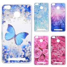 Phone Cases sFor Xiaomi Redmi 3S Redmi 3 Pro Flowers Rose Plants Butterfly Pattern Clear Soft TPU Back Cover for Redmi 3 s 3Pro
