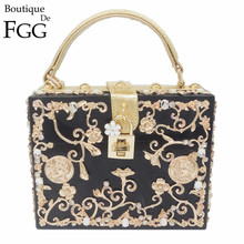 Floral Crystal Women Evening Totes Bag Black Acrylic Clutches Shoulder Handbags Crossbody Bags Hardcase Ladies Box Clutch Bag