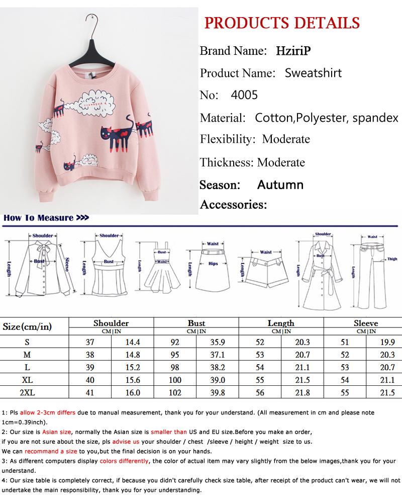 17 New Spring Autumn Sweatshirt Women Tops Plus Size Loose Casual Plus Thick Velvet Cartoon Cat Pattern Sweatshirts Pullovers 1