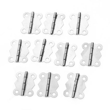 THGS 10pcs Mini Butterfly Style Cabinet Drawer Butt Hinge - Silvery(China)