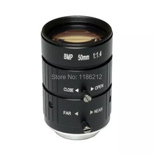 "8 Mega Pixel, 50mm Manual Iris Lens  Industrial Lens with 1"" format & CS Mount  for security cameras"