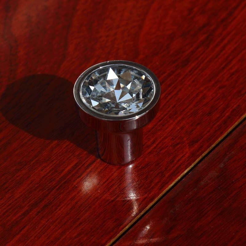 27mm modern simple fashion rhinestone drawer cabinet knobs pulls silver chrome glass crystal dresser cupboard door handles knobs<br><br>Aliexpress
