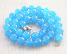 "! 10mm Blue Chalcedony Bead Necklace 18""  JT5094"