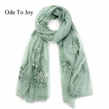 [Ode To Joy]2017 Newest silk floral embroider women scarf Fashion large Long Scarves solid Shawl wrap Female unique style
