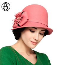 FS 100% Australian Wool Fedora Royal Ladies Curl Brim Red Pink Church Hat Women Vintage Flower Chapeu Cloche Bowler Floppy Hats(China)