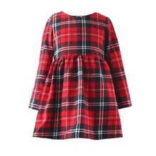2017 ShiJ Brand British Style Girl Summer Dress Plaid Print Long Sleeve High Quality Children Cloth for kid 2 to 12 Years(China)