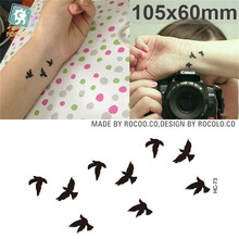 summer style waterproof temporary tattoos for lady women Colorful animal aerial bird design tattoo sticker Free Shipping HC1073(China)