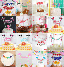JOY-ENLIFE 1set Mickey Minnie Mouse Cupcake Cake Topper Cake Flags Baby Shower Birthday Party Decor Cake Baking Party Supplies