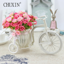 High Quality meters samll rose artificial flower set rattan vase + flowers home decoration Birthday Gift(China)