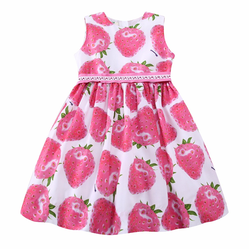 Girls Summer Dress with Beading Sashes 2017 Brand Robe Enfant Kids Clothes Costumes Princess Pink Strawberry Dresses<br>