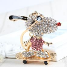 Skateboard Dog Sunglasses Lovely Charm Crystal Cute Purse Bag Keyring Car Key Chain nice Gift For Best Friend Club(China)