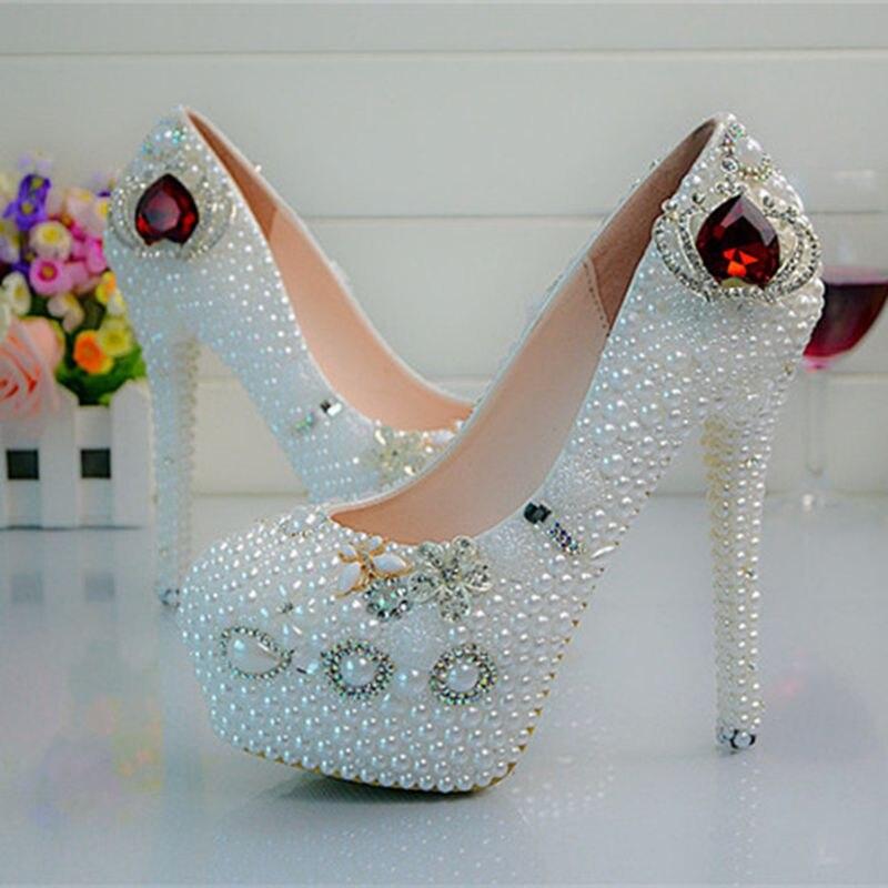 Customize  Rhinestone Ruby Crown Tassel  Pearls  Wedding Shoes High Heels Slip On Bridal Shoes  Platform Shoes  No57<br><br>Aliexpress