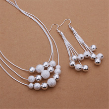 New silver plated jewelry set high quality European style triple chain hanging light sand Bead Necklace Dangle Earrings S363