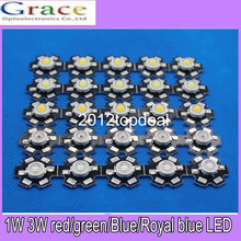 100pcs 1W 3W High Power white warm white red green Blue Royal blue 660nm LED with 20mm star pcb