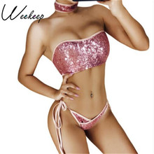 Weekeep 2017 New Sexy Bra Set Beach Bandeau And Panty With Neckline Padded Sequined Lingerie Women Underwear Women Push Up Sets(China)