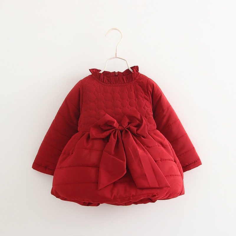 DFXD Baby Girl Clothes Dresses Winter Long Sleeve Thick Big Bowknot Newborn Warn Girls Party Princess Dress Little Baby Dress<br><br>Aliexpress