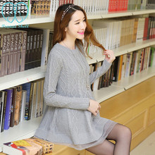 8941# A Line Loose Knitted Maternity Sweaters Dresses 2017 Autumn Fashion Pregnancy Pullover Winter Clothes For Pregnant Women