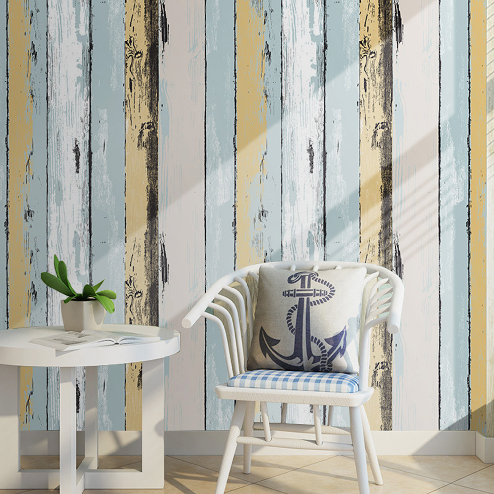 HaokHome Wood Panel Peel and Stick Wallpaper 23.6 x 19.7ft Yellow/Lt.Blue/Black/Cream Self Adhesive Contact Wall Decoration<br>