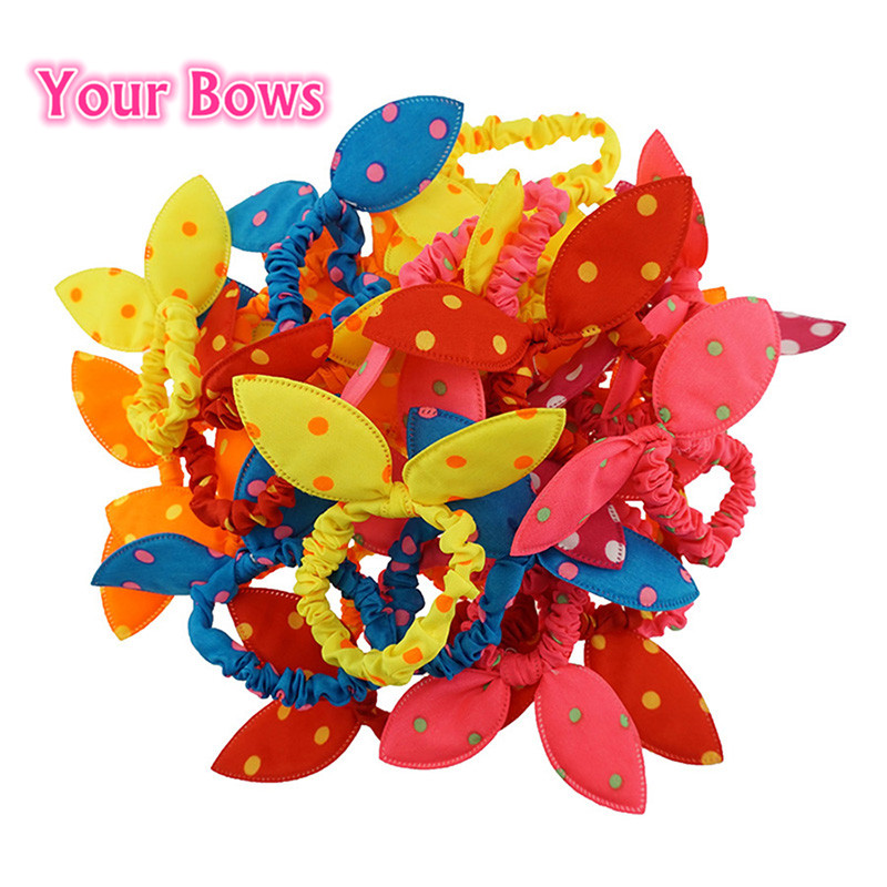 Your Bows 1PC Cute Girl Elastic Hair Bands Polka Dot Bow Rabbit Ears Elastic Hair Rope Ponytail Holder Hair Accessories(China (Mainland))