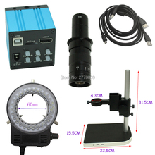 14MP HDMI USB Digital Industry Video Microscope Camera 10X-180X C-Mount Lens Adjustable LED Light Source Lifting Table(China)