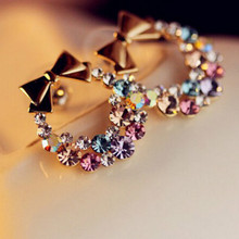 Free shipping new fashion imitation colorful rhinestones bow earrings retro jewelry girls best gift