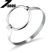 7SEAS Exaggerate Big Circle Women Bangles Gold Color Wristband Bracelets For Women Simple Design New Summer Jewelry Gift JM873