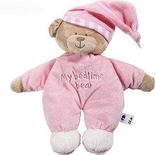 32CM Pink Blue My Bedtime Bear Newborn baby Soft plush Toys Sleeping Bear with Tags(China)