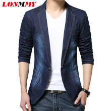LONMMY Denim blazer men blazer jeans slim fit Cowboy coats Leisure mens suit jean jacket Men casual coat Single button New 2017