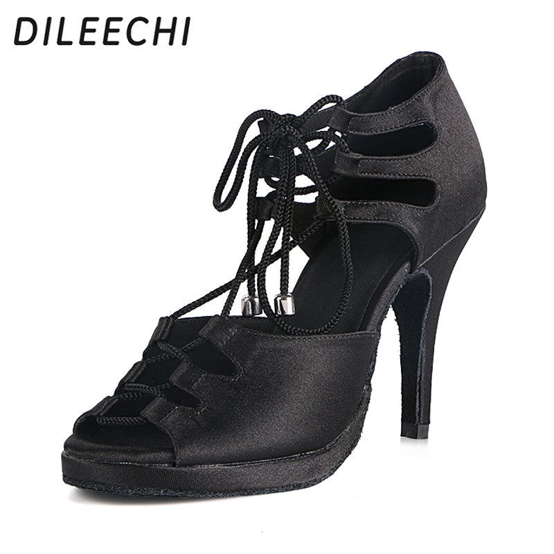 Aliexpress.com   Buy DILEECHI women s latin dance shoes salsa party dance  shoes satin Waterproof platform red black bronze heel 10cm dance shoes from  ... 0d6b90666d88