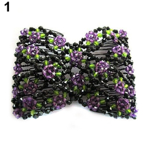 Good Elegant Stretch Rose Flower Bow Glass Bead Hair Head Double Insert Clips  Comb Cuff  53F1