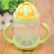 280ml Baby Feeding Bottle kids Nursing Water Straw Cup Drinking Sippy Cups With handles