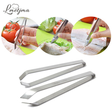 LMETJMA Stainless Steel Fish Bone Tweezer Kitchen Fish Bone Remover Pincer Japanese Culinary Tweezer Tongs Seafood Tool PY0602-1