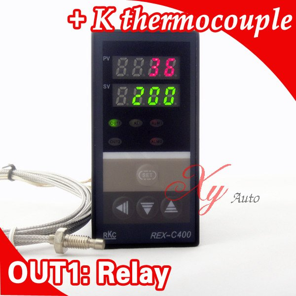 Dual Digital RKC PID Temperature Controller REX-C400 with K thermocouple, Relay Output<br><br>Aliexpress