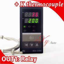 Dual Digital RKC PID Temperature Controller REX-C400 with K thermocouple, Relay Output(China)