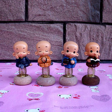 1PC Novelty Craft Shaking Head Small Monk Decoration Creative Resin Car Accessories Desktop Crafts Boutique Toy Gifts