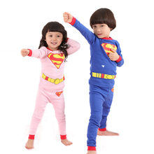Hot Sale Autumn Spring New Kids Pyjamas Suits Brand Superman Children Clothing Baby Boy Girl Pajamas Two-piece