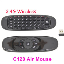 DHL 10pcs Gyroscope 2.4GHz Mouse C120 Air Mouse Rechargeable Wireless GYRO Air Fly Mouse Keyboard for For Smart Tv Box Mini PC(China)