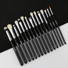 BEILI Black 15 Pieces Eye shadow eyeliner Eyebrow Natural goat hair Makeup brushes Set