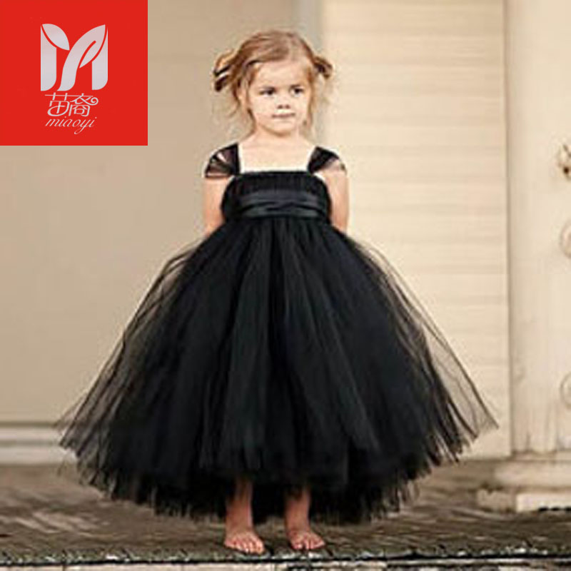 2017 New tutu black baby bridesmaid flower girl wedding dress tulle fluffy ball gown USA birthday evening prom cloth party dress<br>