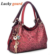 Brand Women Bag Hollow Out Ombre Handbag Floral Print Shoulder Bags Ladies PU Leather Tote Bag Red/Gray/Blue/Pink Z551(China)