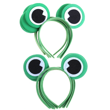 10pcs Green  Cartoon Animals Frog Headband for Halloween Children's Day Party Eye Fancy Dress Costume Animal Decor