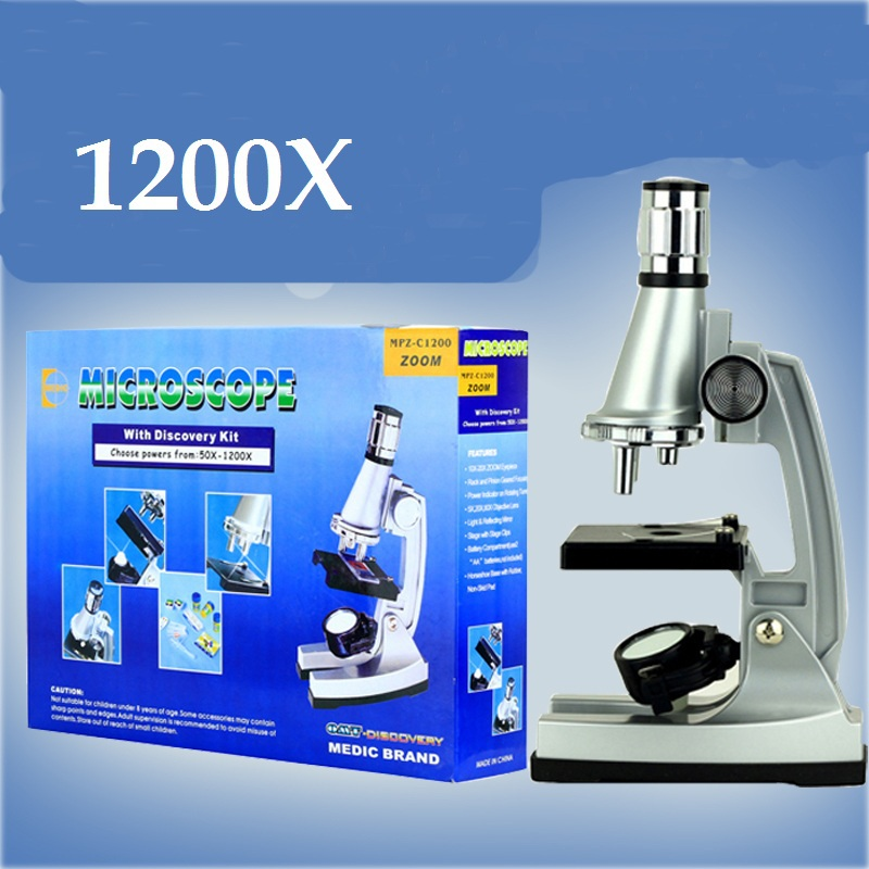 1200X Kids Monocular Biological Microscope with Bottom Lamp for Student Science nature learn reaserch kids party gift box<br>