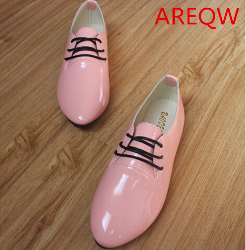 2016 New Casual Fashion Lace-up Patent Leather Candy Color Womens Singles Pointed White Flat Heel Shoes MUJER Loafers<br><br>Aliexpress